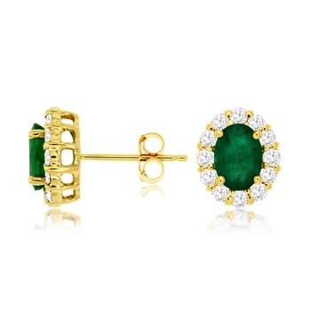 Oval Emerald Diamond Halo Stud Earrings