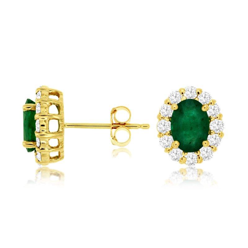 Murphy Pitard Signature Collection Oval Emerald Diamond Halo Stud Earrings