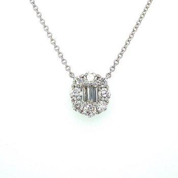 Diamond & Baguette Diamond Halo Necklace