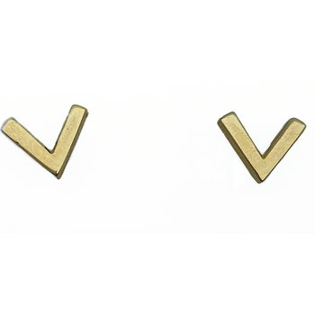 Yellow Gold Chevron Stud Earrings