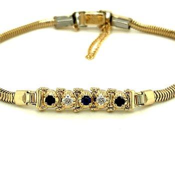 Tennis Style Diamond & Sapphire Starter Bracelet