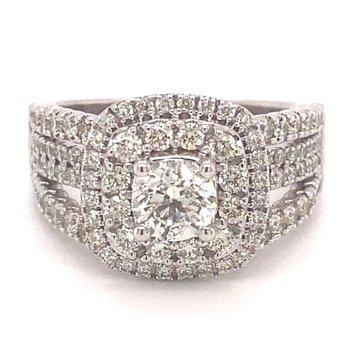 Round Diamond Double Halo Split Band Engagement Ring