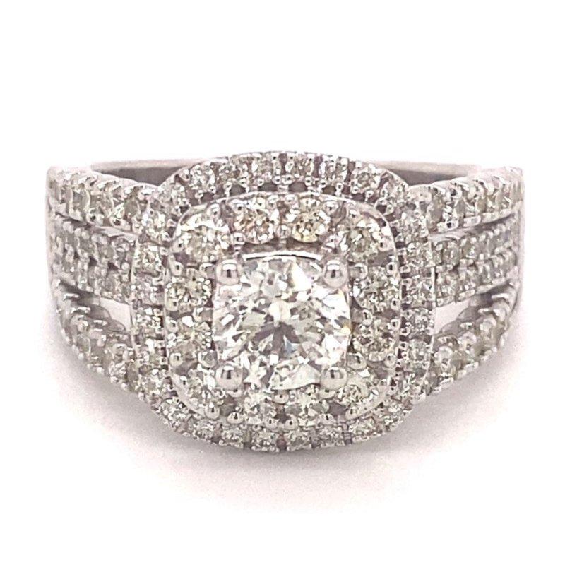 Murphy Pitard Signature Collection Round Diamond Double Halo Split Band Engagement Ring
