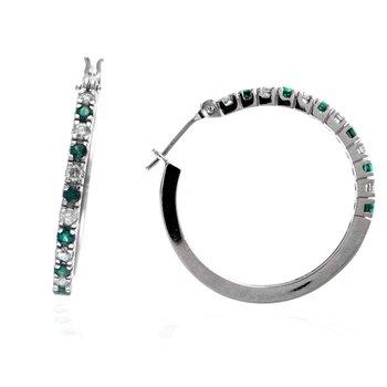 Emerald & Diamond Large Hoop Earrings