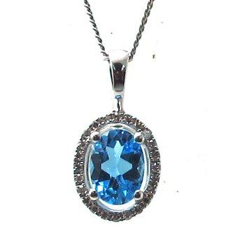 Swiss Blue Topaz & Diamond Halo Pendant Necklace