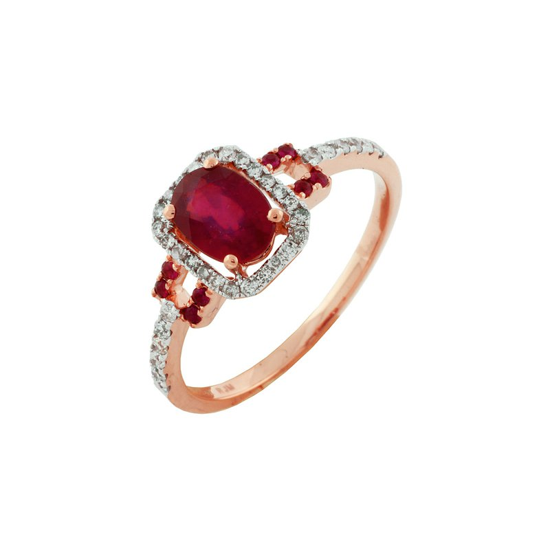 Murphy Pitard Signature Collection Ruby Halo Diamond Ring