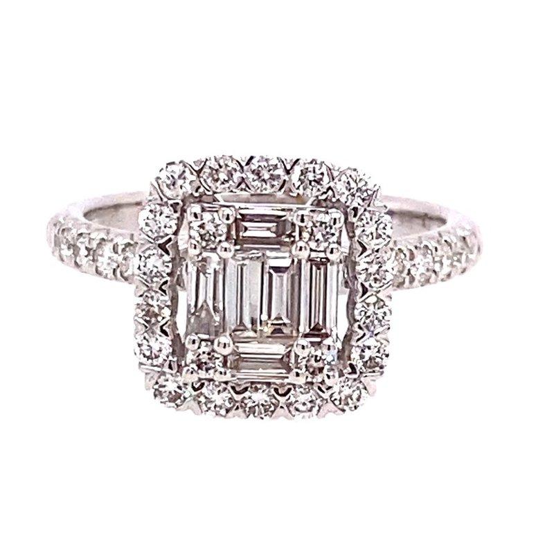 Murphy Pitard Signature Collection Diamond & Baguette Diamond Halo Ring