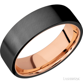 Men's Zirconium Satin Finished Flat Band With Rose Gold Sleeve
