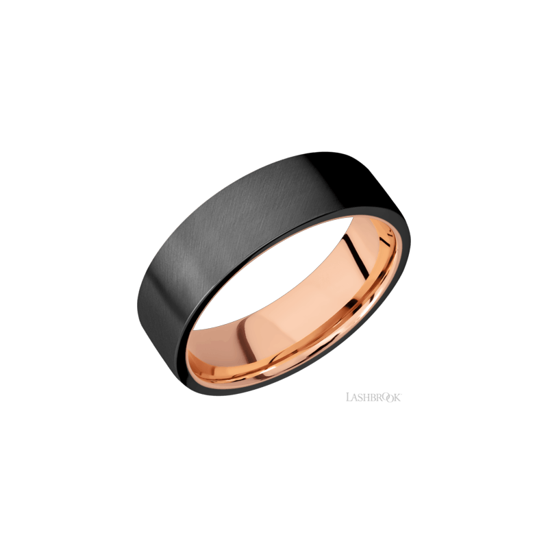 Lashbrook Men's Zirconium Satin Finished Flat Band With Rose Gold Sleeve