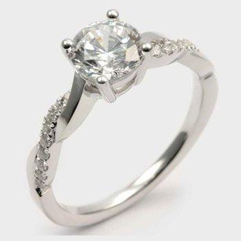 Diamond & High Polish Twisted Engagement Ring