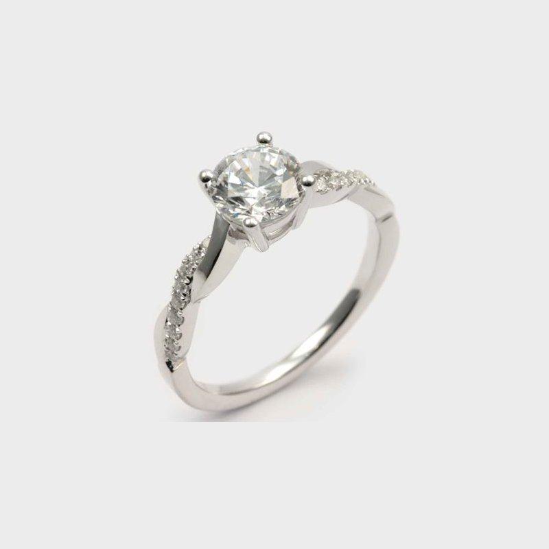 Diadori (Cheri Dori) Diamond & High Polish Twisted Engagement Ring