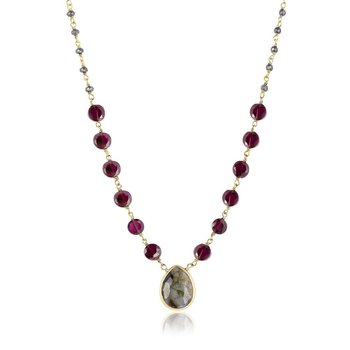 Ara Labradorite Teardrop & Garnet Fashion Necklace