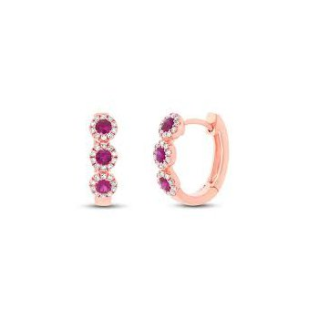Diamond Ruby Hoop Earrings