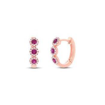 Diamond Ruby Hoop Earrings