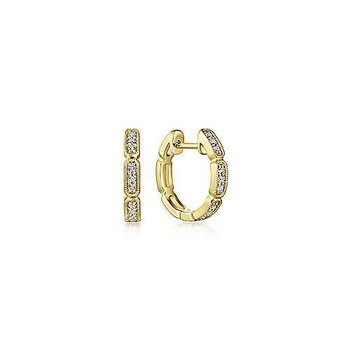 Milgrain Diamond 10 Millimeter Huggie Earrings