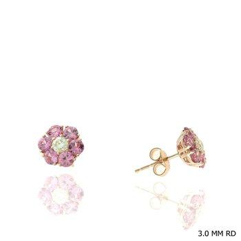 Pink Sapphire & Diamond Flower Stud Earrings