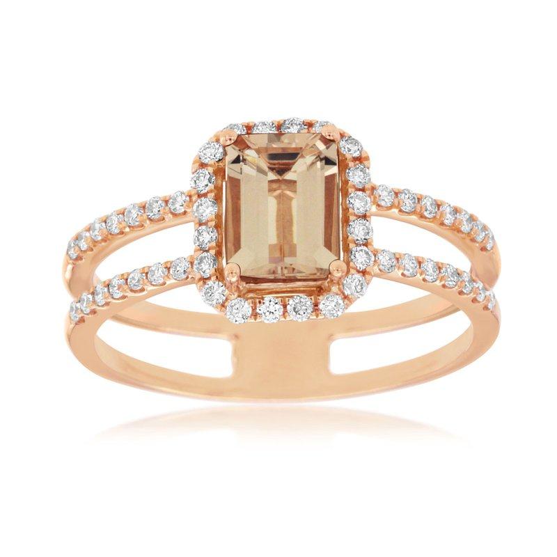 Murphy Pitard Signature Collection Diamond & Morganite Split Fashion Ring