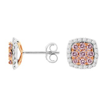 Pavé Pink Diamond Halo Stud Earrings
