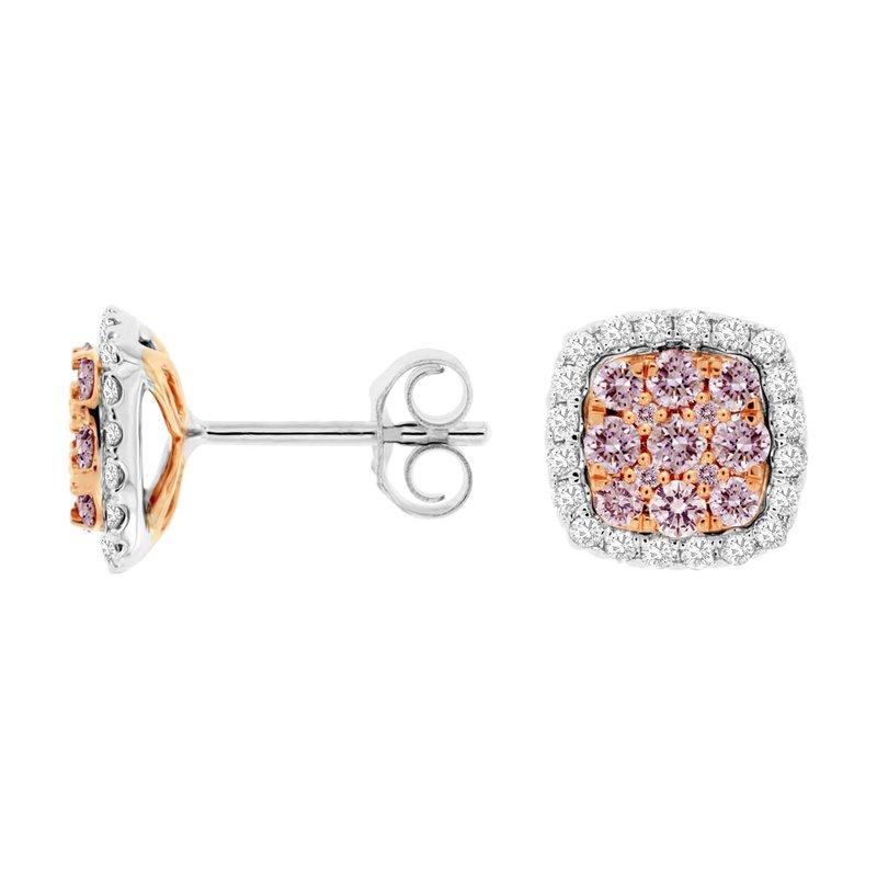Murphy Pitard Signature Collection Pavé Pink Diamond Halo Stud Earrings