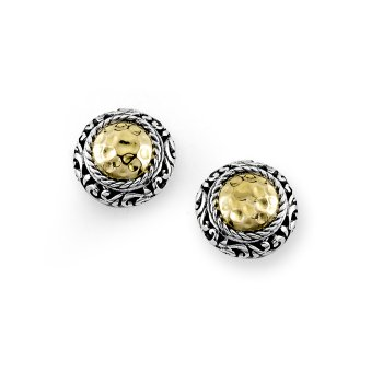 Round Hammered Two Tone Stud Earrings