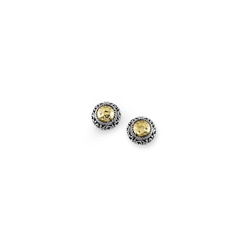 Samuel B. Round Hammered Two Tone Stud Earrings