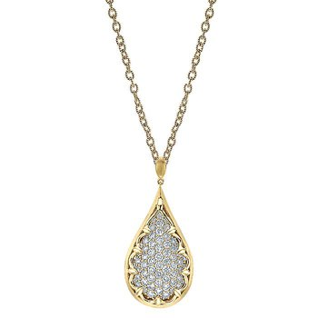Diamond Pavé Drop Pendant Necklace
