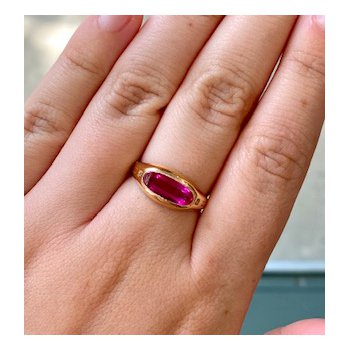 Created Oval Ruby Ring