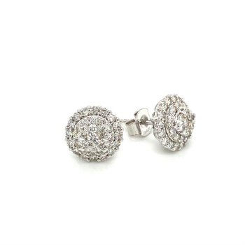 Diamond 1.0 Carats Double Halo Stud Earrings