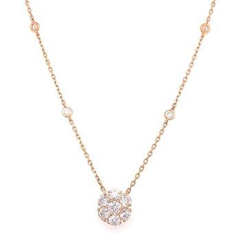Diamond Bezel Station Necklace With Diamond Flower Center