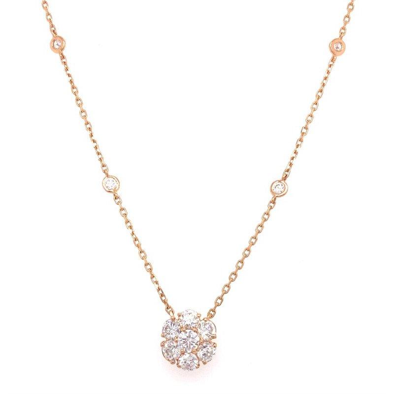 Murphy Pitard Signature Collection Diamond Bezel Station Necklace With Diamond Flower Center