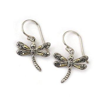 Two Tone Dragonfly Earrings