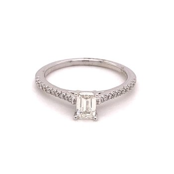 Emerald Cut 1/2 Carats Diamond Accented Engagement Ring