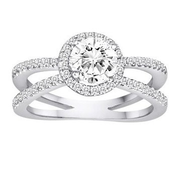 Diamond Round Halo Split Band EngagementRing