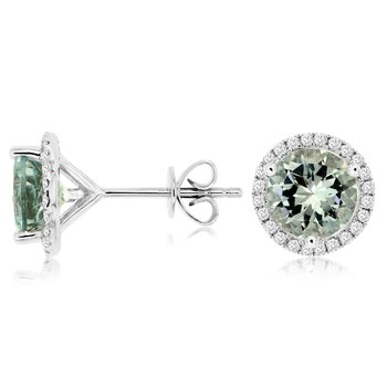 Aquamarine Diamond Halo Stud Earrings