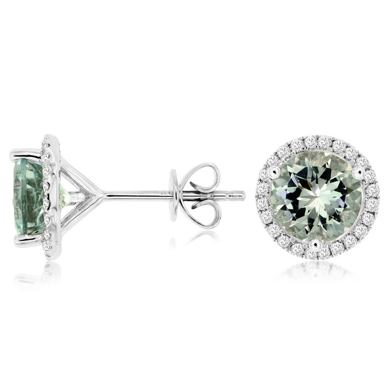 Murphy Pitard Signature Collection Aquamarine Diamond Halo Stud Earrings