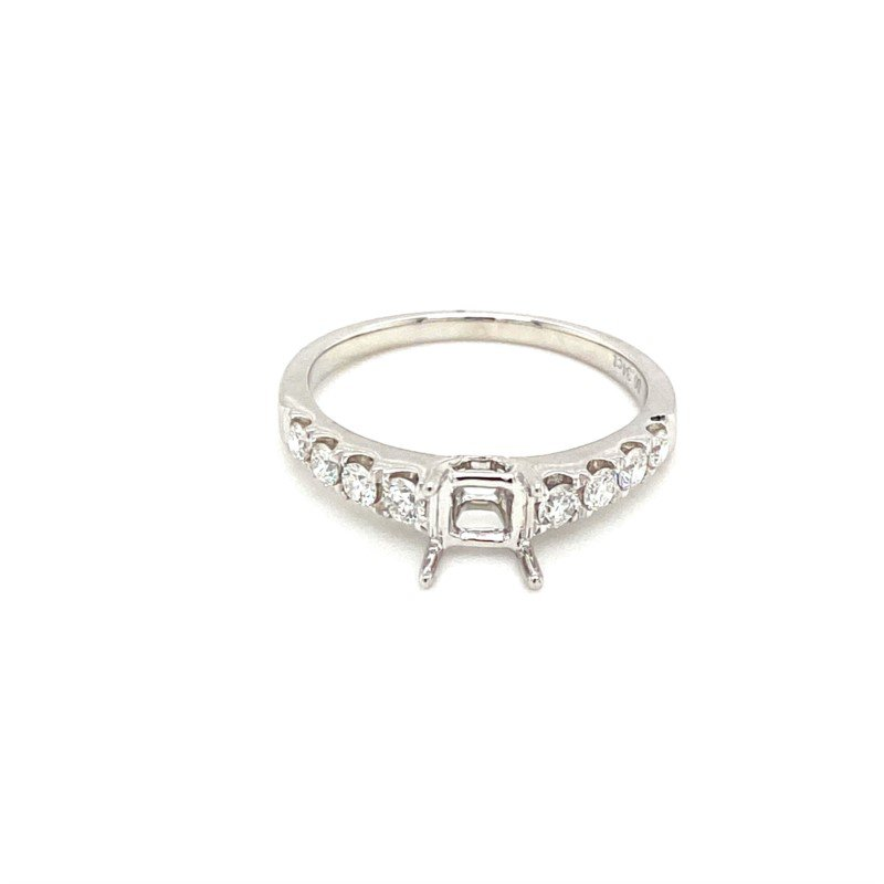 Murphy Pitard Signature Collection Diamond Engagement Ring with Round Side Stones