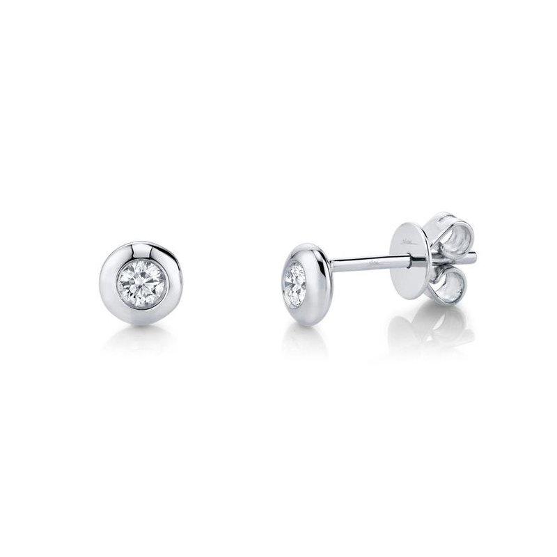 Shy Creation Diamond Bezel Stud Earrings