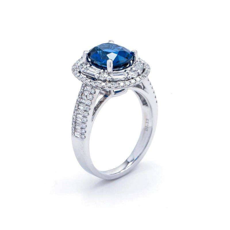 Murphy Pitard Signature Collection Diamond & Sapphire Double Halo Dinner Ring