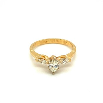 Marquise Diamond Three Stone Engagement Ring