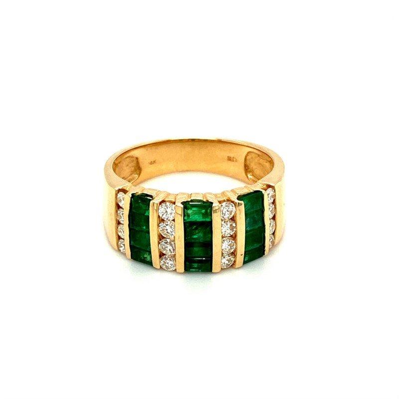 Murphy Pitard Signature Collection Diamond & Emerald Channel Fashion Band