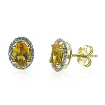 Citrine & Diamond Halo Stud Earrings