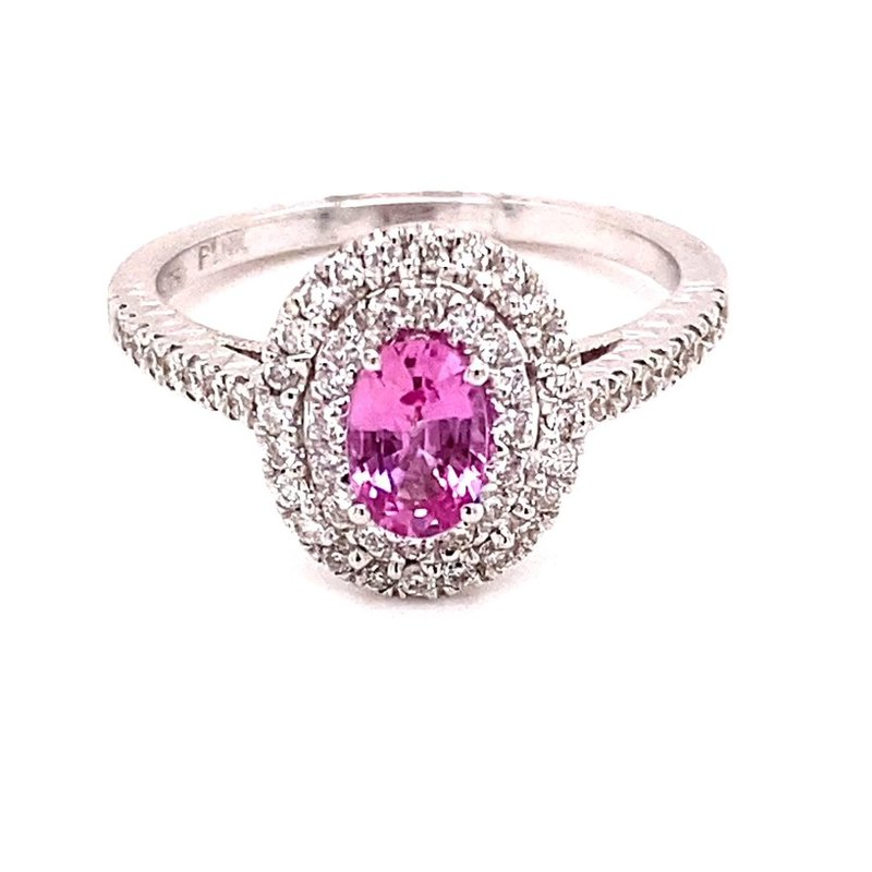 Murphy Pitard Signature Collection White Gold Pink Sapphire and Diamond Ring