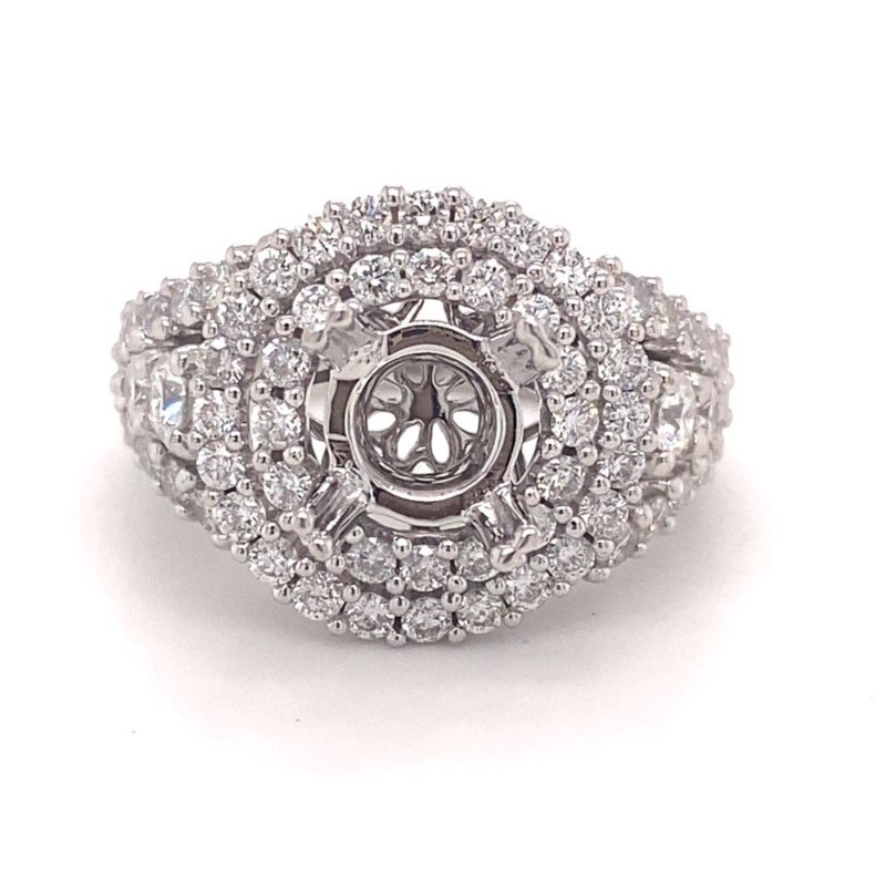 Murphy Pitard Signature Collection Round Diamond Double Halo Engagement Ring