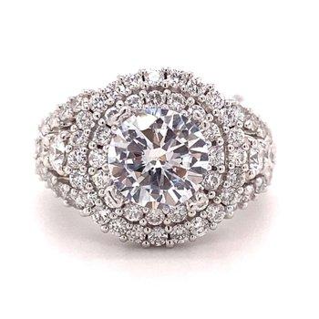 Round Diamond Double Halo Engagement Ring