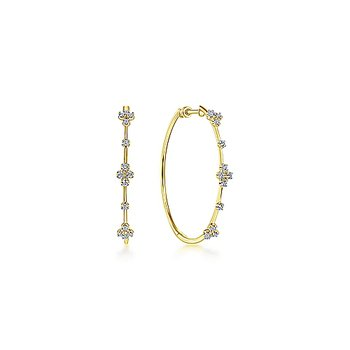 Diamond Accented Large Hoop Earrings