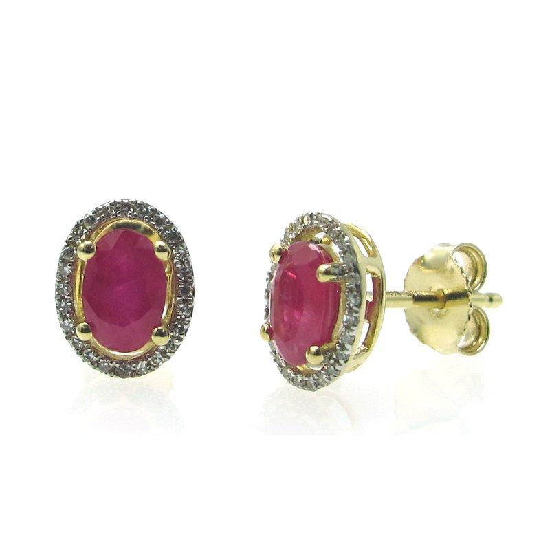 Murphy Pitard Signature Collection Ruby & Diamond Halo Stud Earrings