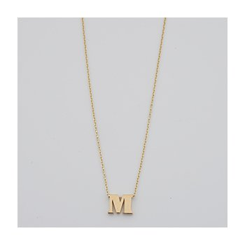 Polished M Initial Necklace