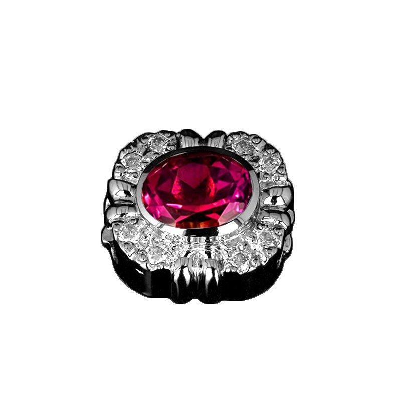 Goldman-Kolber GK Coloures Oval Cut Synthetic Ruby & Cubic Zirconia Slide