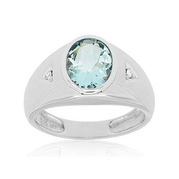 Oval Aquamarine & Diamond Accented Ring