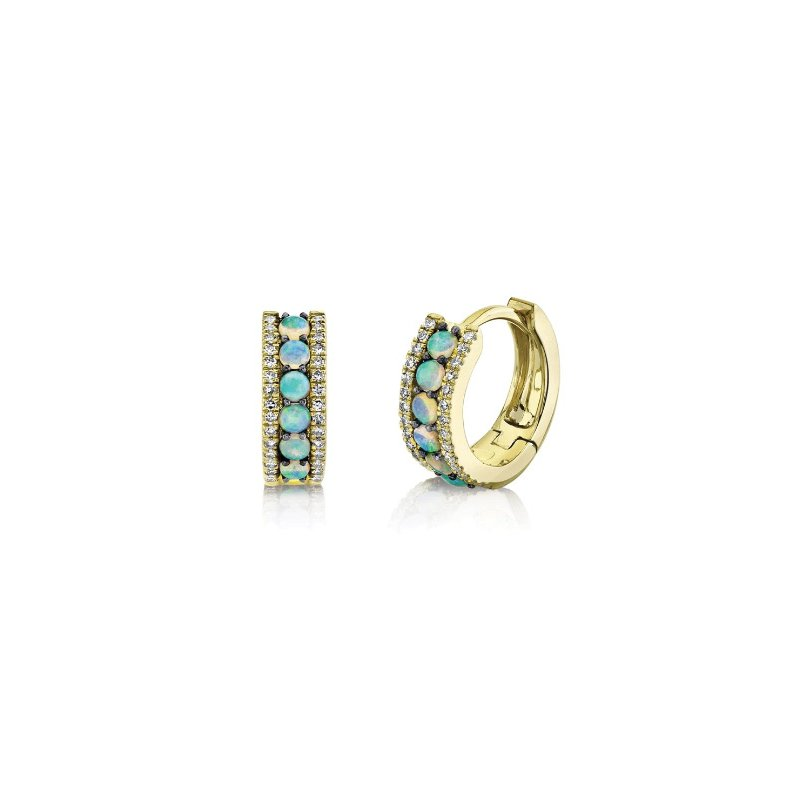 Shy Creation Opal & Diamond Small Huggie Hoop Earrings